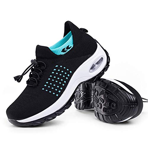 Women's Walking Shoes Sock Sneakers - Mesh Slip On Air Cushion Lady Nurse Shoes Jazz Dance Easy Shoes Platform Loafers Cyan&Black,9