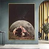 JIERUIFBH Cuadros de Pared Pop artNight Sky Art Prints Pareja Posters e Impresiones Surrealismo Galaxy Space Moon Imagen Decoración para el hogar 40x60cm sin Marco