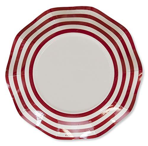 8 Petites assiettes vagues - Navy rouge