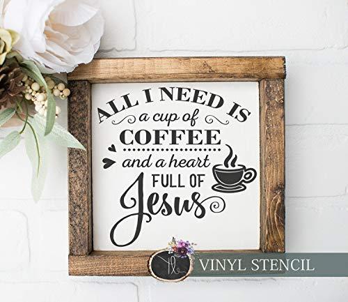 Ced454sy Gift Alles wat ik nodig heb is een kopje koffie en een hart vol Jezus OneTime gebruik Vinyl Wood Sign