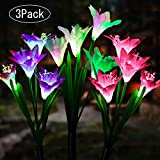 Solar Lights Outdoor , ArtDIY Solar Lights with 12 Bigger Lily Flowers ,Multi-Color Changing LED Solar Flower Lights for Garden Patio Lawn Path Backyard (3Pack)