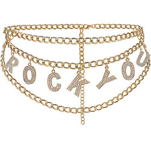 BAOKELAN Chaîne De Taille Multicouche Strass Lettre Pendentif Chaîne du Ventre Cristal Corps Bijoux pour Femmes Et Filles Rock You Or 110 Cm
