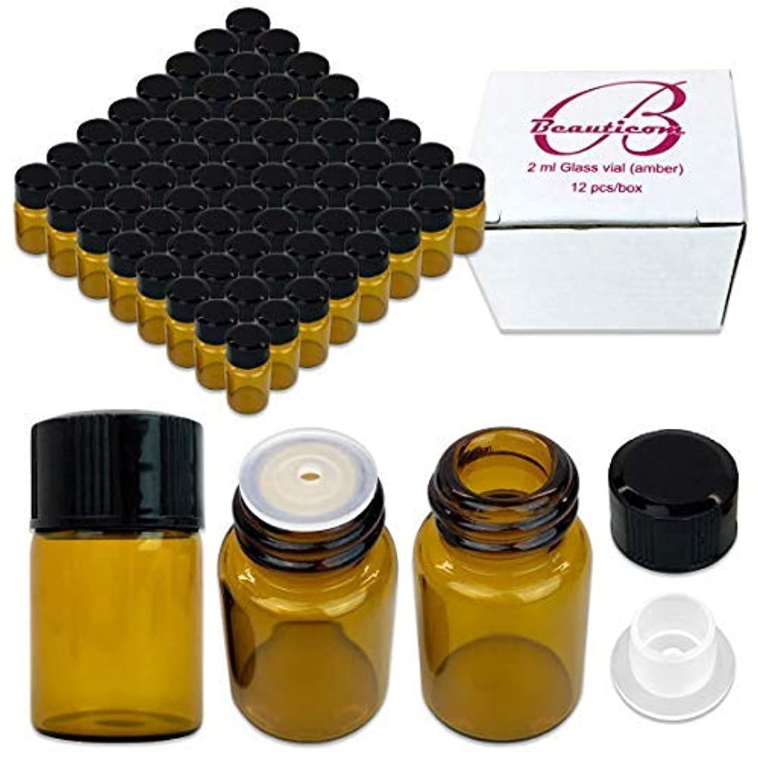 回転アンプ十84 Packs Beauticom 2ML Amber Glass Vial for Essential Oils, Aromatherapy, Fragrance, Serums, Spritzes, with Orifice Reducer and Dropper Top [並行輸入品]