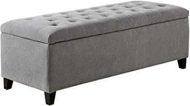 Madison Park Shandra Storage Ottoman - Solid Wood, Polyester Fabric Toy Chest Modern Style Lift-Top Accent Bench for Bedroom Furniture, Medium, Grey