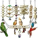 onebarleycorn – Juego de 7 Juguetes para Pájaros Columpio para Loros Accesorios Madera Natural Jaula Pajaros Bite Toy con Campanas para Periquitos Cockatiels Cacatúas Conures Pinzones Agapornis