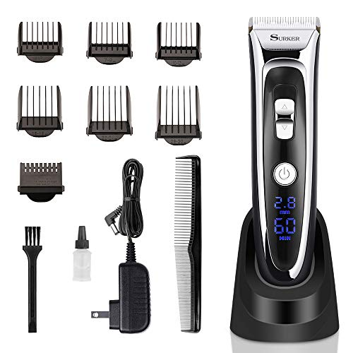 Cordless Hair Clippers for Men Professional Head Hair Trimmer Grooming Kit Haircut Machine, Electric and Rechargeable Hair Cutting Set with 6 Guards Comb for Personal Barber