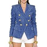 Chaqueta Blazer para Mujer con Botones de león - Azul - XXL