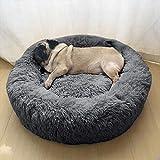 Wuudi Haustierbett Hundebett Katzenbett 60cm Rund Weich und Weich für Haustiere/ Welpen/ Haustier/ Katzenbett in Doughnut-Form Dunkelgrau