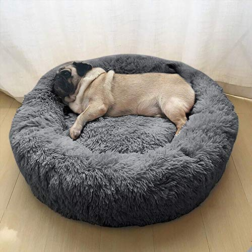 Wuudi Haustierbett 60 cm Hundebett Katzenbett Rund Weich und Weich für Haustiere/Welpen/Haustier/Katzenbett in Doughnut-Form Dunkelgrau