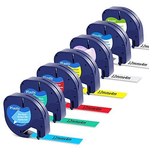 Nastro per Etichette MarkField Compatibile In Sostituzione di Dymo LetraTag Plastica Nastri 12 mm x 4 m, 91200 91201 91202 91203 91204 91205 12267 per Dymo Letratag LT-110T LT-100H QX 50 XR XM Plus