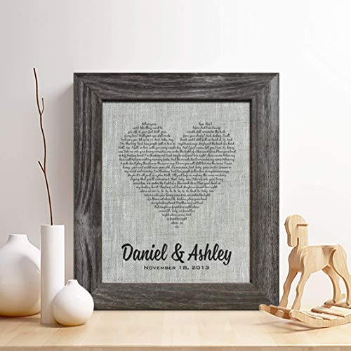 Personalized 4th or 12th Linen Anniversary Gift for Him or Her, First...