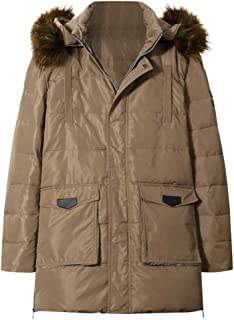 wuliLINL Mens Faux Fur Hooded Winter Coats Collar Zip Up Quilted Parka Jacket Outerwear