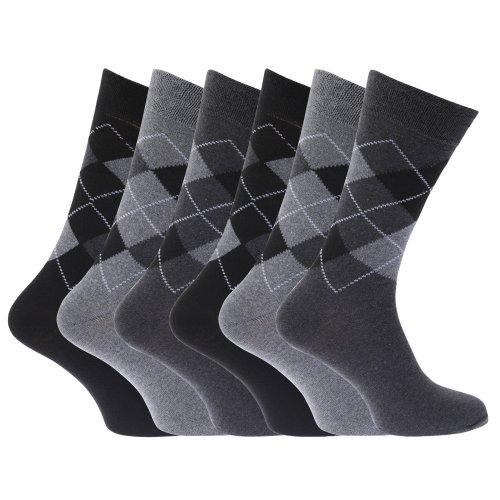 Socken mit Raute-Muster, aus Baumwollmischung, für Herren (6Paar) Gr. 39-45, mehrfarbig