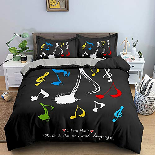 Nordic Modern Home Textiles Bedding Set Small Fresh Musical Note Pattern Black Duvet Cover Queen King Size Soft Comforter Set Double Single The Comfy for Girl Boy Teens Adult,Queen