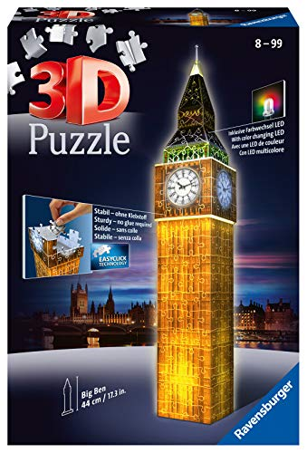 Ravensburger 12588 Big Ben Night Edition 216 Piece 3D Jigsaw Puzzle with LED...