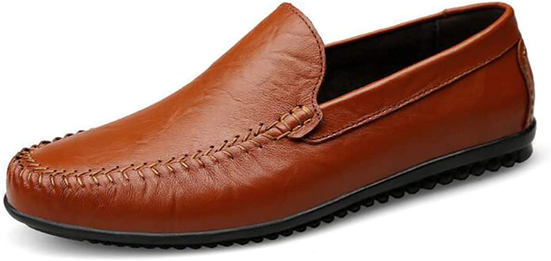 Leather shoes Men's shoes Men's Lazy shoes Breathable Soft Fashion Casual shoes Large Size Men's shoes Driving shoes (color   B, Size   42)