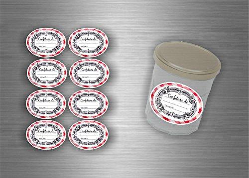 Akachafactory Lot Etiquette Autocollant Sticker Confiture conserves - Lot de 48