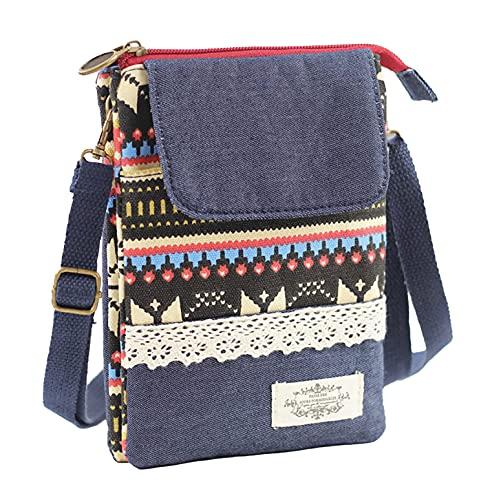 Kleine Stoff-Umhängetasche Schultertasche Kosmetiktasche Handytasche für Damen Jugendliche Baumwolle Boho Chic Style Indio Ethno Patchwork Look mit Spitze (Roter Zipper)
