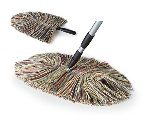 Sladust All Wool Dust Mop with Telescoping Handle and Hand Duster Made in The USA