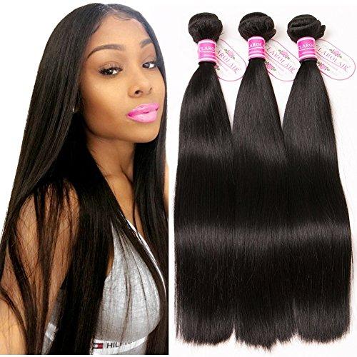 CLAROLAIR 8A Brazilian Hair Weave Straight Human Hair Bundles Brasilianische Haare Bündel Echthaar Weave Menschliche Haare 300 g Total 18 20 22 inch)