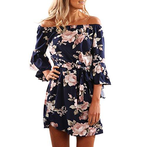 Yieune Sommerkleider Lange Ärmel Schulterkleid Blumenmuster Kurzes Strandkleid (Blau 3XL)