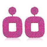 Boderier Beaded Drop Earrings Bohemian Wire Wrapped Beaded Square Hoop Dangle Statement Earrings (Hot Pink)