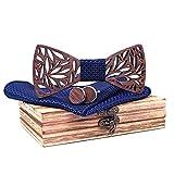 Mahoosive Men's Wood Bow Tie and Hankerchief Set With Wooden Case (1)