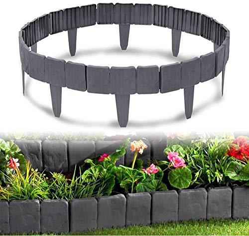 SYANO Rasenkante Kunststoff 20 m Steinoptik Garden Border aus Polypropylen,Plug-in wasserdichter Corrosion Resistant Zaun,Grau Garten Rasen Zierzaun (80 Stücke / 20m)
