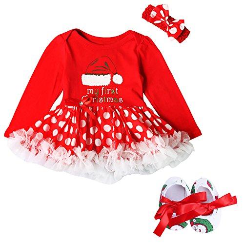 Disfraz de Papá Noel para recién nacido, con estampado de árbol de Navidad, manga larga, vestido tutú para recién nacido, color rojo