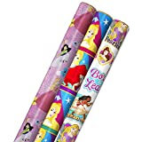 Hallmark Disney Princess Wrapping Paper with Cut Lines (Pack of 3, 60 sq. ft. ttl.) with Cinderella, Ariel, Mulan, Jasmine, Snow White and Belle for Birthdays, Christmas or Any Occasion