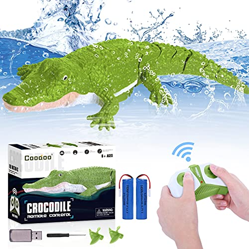 2.4G Remote Control Boat Toy 1:18 Scale High Simulation RC Crocodile for Swimming Pool Bathroom Great Gift RC Boat Toys for 5+ Year Old Boys and Girls