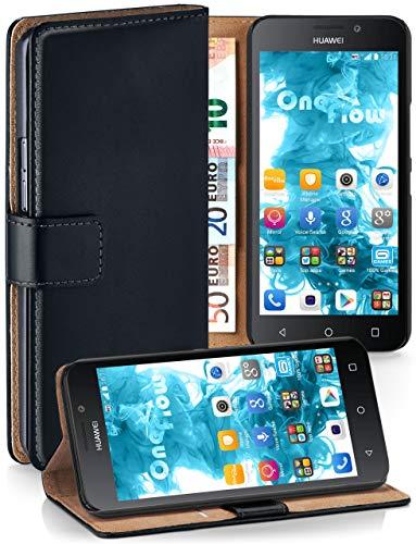 MoEx Cover a Libretto Compatibile con Huawei G Play Mini | Fessura Carta + Soldi, Supporto, Nero