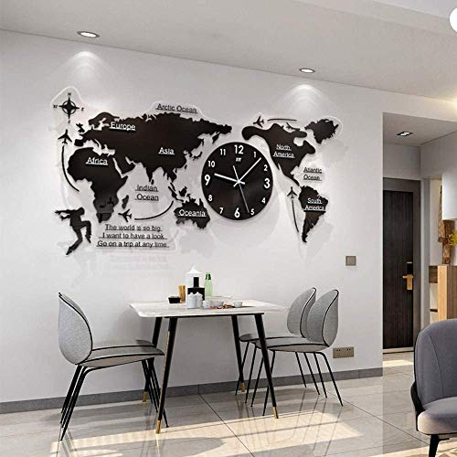 GYLEJWH Mapa del Mundo En 3D Acrílico con Relojes Set - Sala De Estar Decorada Reloj De Pared Moderno - Negro 120X55 Cm MDF Mundial Relojes Relojes De Pared Escudo Continentes Wanddeko Pared del Arte