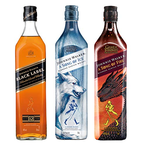Johnnie Walker Black Label Blended Scotch Whisky + A Song of Fire - Blended Scotch Whisky, Haus Targaryen Game of Thrones Limited Edition + A Song of Ice - Haus Stark Game of Thrones Limited Edition