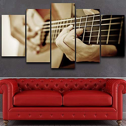 chgznb Leinwanddrucke Leinwandbilder HD gedruckt Leinwandbilder Poster Home Decor 5 Stück Gitarre Musikinstrumente Wandkunst