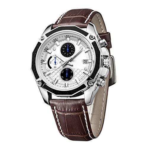 Reloj De Negocios con Cronógrafo Multifunción para Hombres, Relojes De Pulsera Digitales De Cuero con Movimiento Impermeable para Hombres Unisex con Caja De Regalo