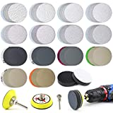 POLIWELL 200PCS 2 Inch Sanding Discs for Drill Grinder Rotary Tools, 2pcs Soft Foam Buffering Pads + 1/4 in & 1/8 in Shank Backing Pads, Hook and Loop Wet Dry Sandpaper Disc Include 60-10000 Grit