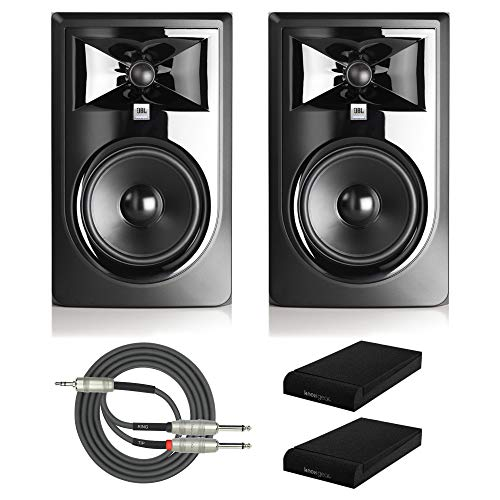 "JBL 305P MkII Powered 5"" Two-Way Studio Monitors (Pair) with Knox Gear Isolation Pads and Breakout Cable Bundle"