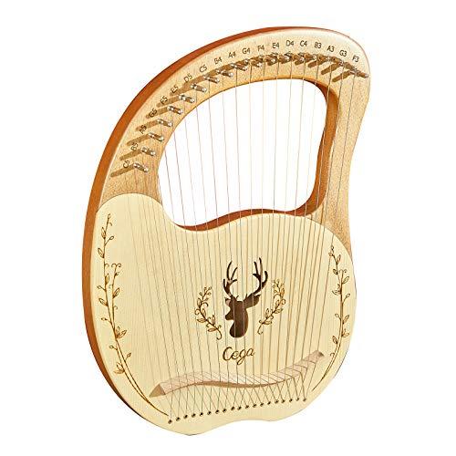 19-saitiges Lyra Harp Resonance Box Saiteninstrument aus Holz mit Stimmschlüssel 3 Stück Picks