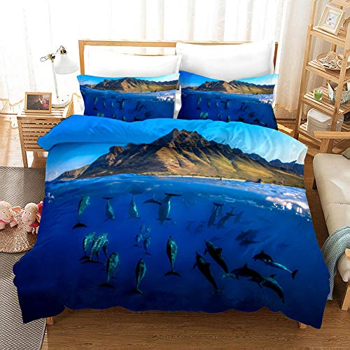 3D Printing Dolphin Pattern Home Textile Duvet Cover Pillowcase Bedding, Suitable for Bedroom, Student Dormitory, Hotel, apartment-22_140210cm(3pcs)