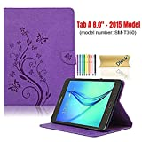 Dteck Case for Samsung Galaxy Tab A (8.0 Inch, 2015 Release, Model SM-T350 /SM-T357 /SM-P350 /SM-P355) - Slim Lightweight PU Leather Stand Wallet Flip Cute Butterfly Cover with Stylus Pen (Purple)