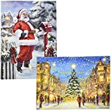 """Christmas Lighted LED Canvas Wall Art Set of 2 Led Fiber Optic Lights Winter Holiday City Scene Large 16"""" Prints Merry Christmas Santa Tree Designs With Battery Operated Light Pictures Gift Boutique"""