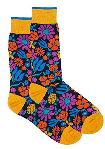 Duchamp London Socken mit Blumenmuster, Gelb, Größe M (40–42)