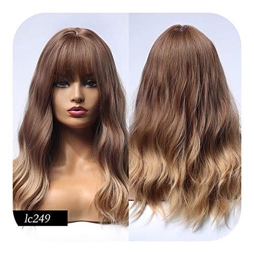 Perruques pour Femmes Cheveux Humains 16 Pouces Synthétique Platine Blonde Cheveux Long Wave Shadow Brown Mixed Color Party