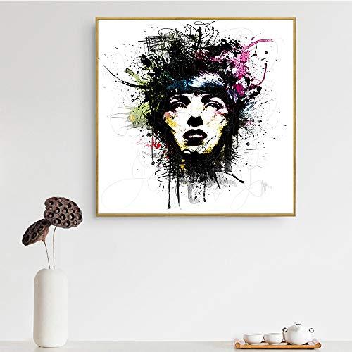 hetingyue Rahmenlose Pop-Art abstrakte Ölgemälde Frau Schädel Form High Heels Lippen Mädchen Wandkunst Leinwand 70x70cm