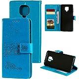 MOONESS Custodia Xiaomi Redmi Note 9 PRO,Blu Custodia Flip Premium Protettiva Portafoglio PU Pelle Case Cover per Xiaomi Redmi Note 9S/Note 9 PRO(O-Blu)