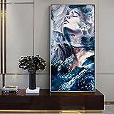 YHZSML Retrato Abstracto Pinturas sobre Lienzo en la Pared Chica Moderna Arte Pop Impresiones en Lienzo Carteles e Impresiones Fotos Fotos Decoración para el hogar 1 60x120cm