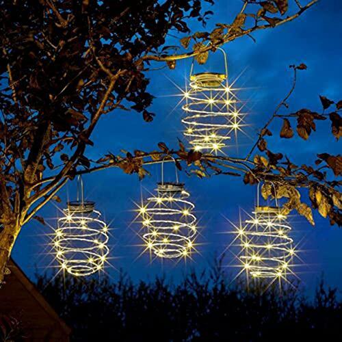 4 Pack Solar Spiral Lights, Solar Lanterns Outdoor, Pineapple Garden Solar Lights, Creative Iron Art Lanterns, LED Hanging Decorative Lamp, for Patio Path Home Tree Decoration Lantern Lighting