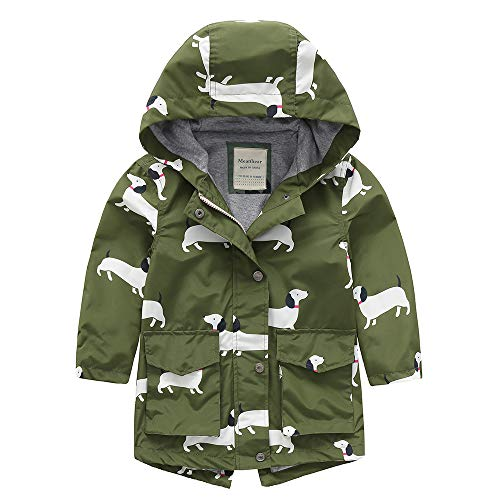 Boys Girls Rain Jacket Outdoor Waterproof Warm Cotton Lined Hooded Raincoat Printed Windbreaker for Kids (Dog, 4T)