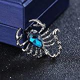 SHUJIA Moda Rhinestone Scorpion Insecto Cristal Metal Broche Pin para los Hombres Insignia Camisa Traje Cuello Accesorios